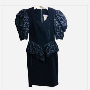 Vintage 1980s Velvet Burnout Peplum Cocktail Dress